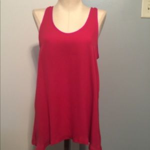 Theory silk red tank top with a fuchsia trim for